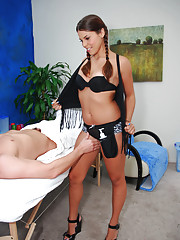Hot 18 year old brunette gives a sexy massage! followed by a happy ending!