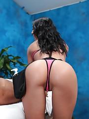 Naughty girl Sabrina fucks her massage client after a rub down