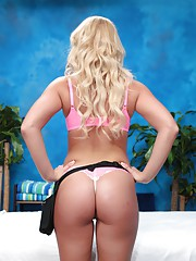 Sweet blonde massage therapist Payton gives a little more than a massage!