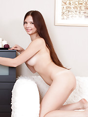 Amateur Nubile Mary pleasures her sweet puffy pussy with a dildo