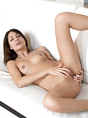 Sexy petite Nubile with puffy nipples gives herself an orgasm