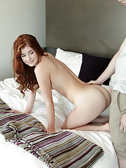 Petite amateur redhead stuffs her mouth and soft twat with hard cock