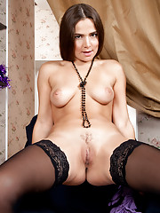Stunning Nubile with big nipples spreads her soft creamy twat