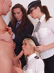 Female police officers take advantage of a naked hunky crime victim and blow him