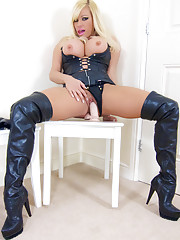 Kinky blonde Michelle Thorne puts on her full leather gear, and then gets out her cigarettes and toys to have some smoking fun!