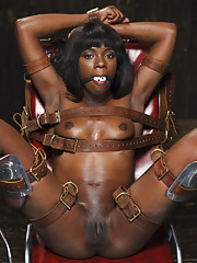 Runway model Ana Fox tied in Japanese bondage, gyno chair with tight gag and lot