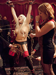 Angel Allwood teaches Aleksa Nicole House Rules While Naked Tied Up And a bunch of strangers clamping her with Clothespin Zippers. Kinky Threesome Sex
