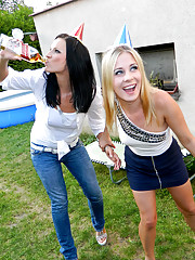 Drunk chicks drinking piss