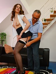 Cute Nadya fucks old man
