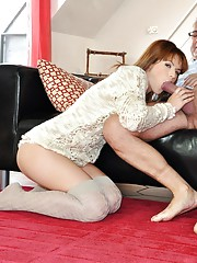 Girl bending over for cock