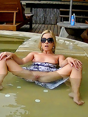 Blonde swimming in a pool