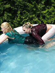 Girls diving into the pool