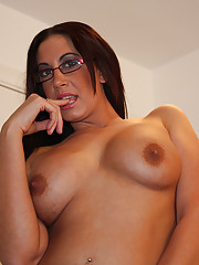 Babe with glasses jerking