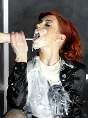 Redhead covered in wet mud