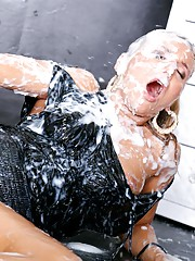 Hot babe is cum splattered