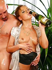 Babes and guys fuck at home
