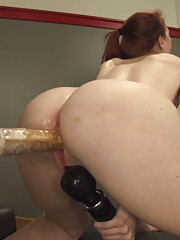 Bonus -New girl taps out to the machines.She rides the Sybian in her yoga pants, cums on the crotch of them, fucks a few machines, then calls it quits