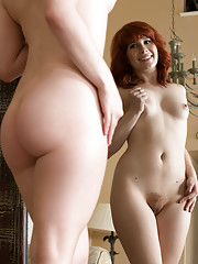 Naughty redhead amateur with small perky boobs spreads her soft fuzzy twat