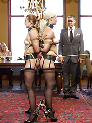 Jenna Ivory and Rose Red, hostess Aiden Starr and Karlo Karrera. Kinky threesome sex, double penetration anal slave, double crotch rope predicament