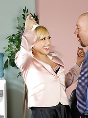 Kagney Linn Karter has a thing for guys with hats. So she gets super wet when she see's her company's HR guy making paper hats. Kagney tells her HR guy about her hat fetish, so he puts it on and Kagney gets to fucking. Fucking in the office is d