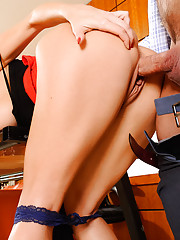 Monique Alexander is being naughty in the office. She's playing with her pretty little pussy when her boss walks in. Monique confesses that she couldn't help herself after losing herself in the fantasy of the romance novel she was reading. Her b