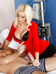 Daniel pulled his groin while at work and immediately went over the doctors office to get it checked out. This lucky guy gets the busty doctor Evans to see him. Daniel drops his clothes and gets on the bed so that the good doctor can check him out. She pr