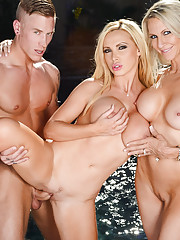 Emma Starr is having a little bbq with her friend's Jessica Jaymes and Nikki Benz when Richie (a friend of a friend) stops by. He gives the girls help cooking the hot dogs, but they are more interested in the giant sausage that's in his pants. H