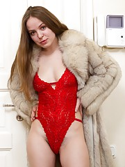 Gretta was just walking outside with this super hot coat. Little did anyone know that all she had on underneath was a sexy red outfit. Now that she