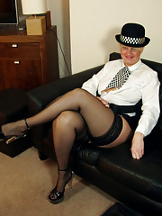 Cunt-stable English in uniform and stockings
