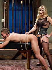 Simone Sonay trains a eager slave with her step daughter Miss Mona Wales both fucking his human dildo dick to see if he is a worthy slave husband!
